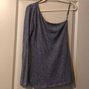 CUTE SILVER ONE SLEEVED TOP